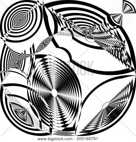 Arabesque Target Tridimensional Galaxy Like Inception Abstract Cut Art Deco Illustration On Transpar