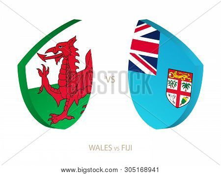Wales V Fiji, Icon For Rugby Tournament. Rugby Vector Icon.