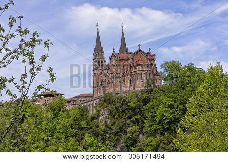Basilica Of Covadonga In Asturias, Spain. Image Taken On May 6, 2019.
