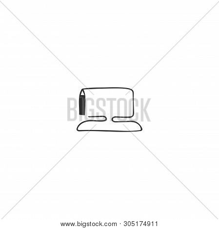 Vector Hand Drawn Icon, A Pen Drawing Computer. Writing, Copywrite And Publishing Theme. For Busines