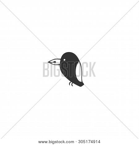 Vector Hand Drawn Icon, A Bird With A Pen Tip Beak. Writing, Publishing And Copywriting Theme. For W
