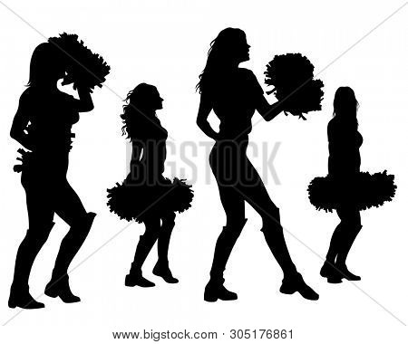 Young cheerleader in dress on white background