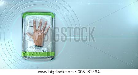 Human Hand, Bionic Organ Packed In Plastic Vacuum Wrap. Concept Of Replacing Donor Organs. Longevity