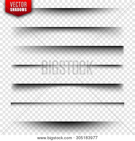 Vector Shadows Set. Page Dividers On Transparent Background. Realistic Isolated Shadow. Vector Illus