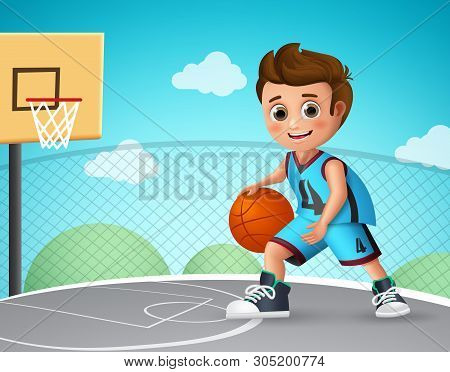 Kid Playing Basketball Vector Character. Young School Boy Wearing Basketball Uniform In Basketball C