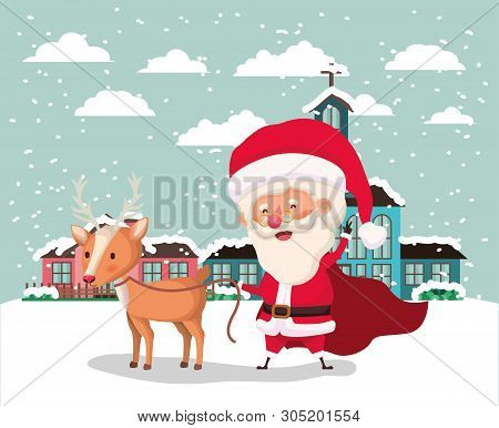Snowscape With Cute House And Santa Claus Scene Vector Illustration