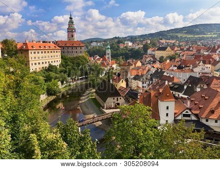 View Of  Historical Cesky Krumlov From Above.