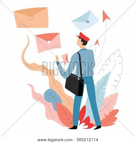 Delivery Mail And Post Mailman Or Postman Letters In Envelopes