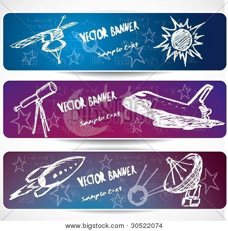 hand-drawn space banners