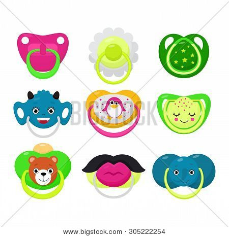 Pacifier Vector Baby Soother Child Nipple And Kids Rubber Nipple Illustration Set Of Cartoon Comfort