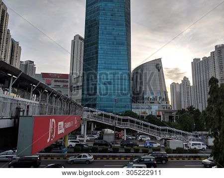 Jakarta, Indonesia - December 20, 2018 : Cityscape Of Jalan S Parman With The Background Of Skyscrap