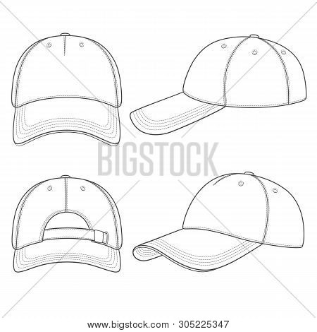 Set Of Black And White Illustrations With A Baseball Cap. Isolated Vector Objects On White Backgroun