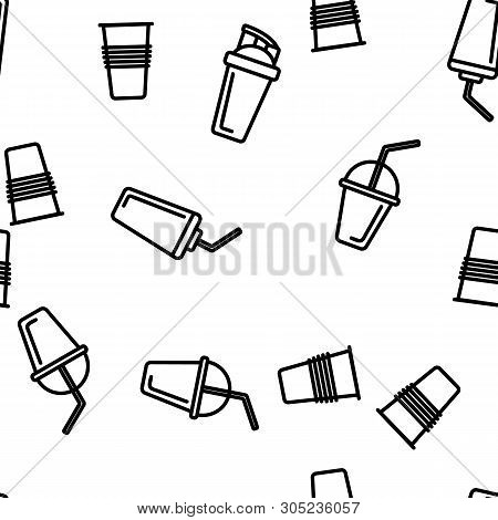 Disposable Plastic Cup Linear Icons Seamless Pattern. Coffee To Go Cup Thin Line Contour Symbols Pac