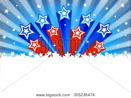 Halftone Vector Background With Stars. American Patriotic Backgrounds With Stars And Balloons. Usa P