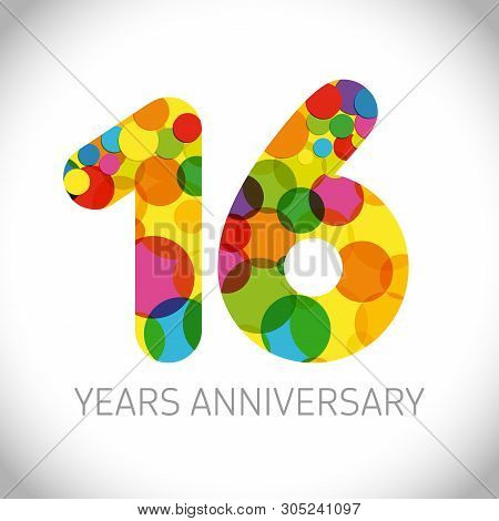 16 Th Anniversary Numbers. 16 Years Old Multicolored Logotype. Age Congrats, Congratulation Art Idea