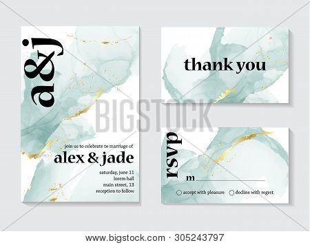Set Of Wedding Ink Liquid Card With Typography. Wedding Invitation Concept. Tender Mint Gold Poster,