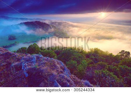 Dreamy Forrest. Sunrise Clouds. Forest Hill.autumn Mist. Misty Peaks. Foggy Landscape. Rock Top