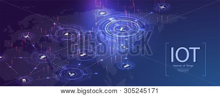 Internet Of Things (iot), Devices And Connectivity Concepts On A Network. Spider Web Of Network Conn