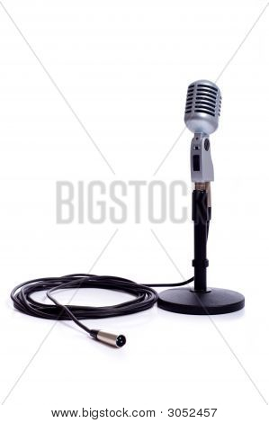 Vintage Microphone On White
