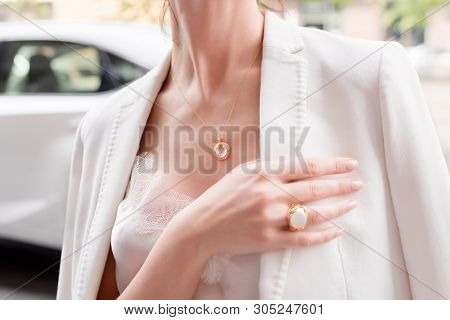 People, Fashion, Jewelry And Luxury Concept, Closeup Of Woman Wearing Luxury Jewelry Standing Near E