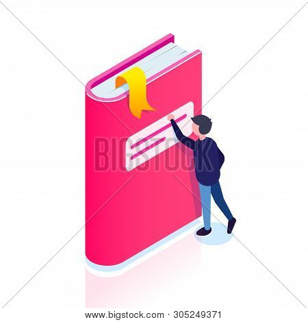 Book Icon. Isometric Style. Man Reaches For A Bookmark. Thirst For Knowledge. Can Use For Web Banner