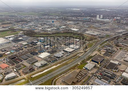 Aerial View Skyline City Of Goningen With Industrial Park, The Netherlands