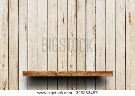 Wood Shelves Empty On A Background Of Wooden Wall. Empty Top Wooden Shelves On Wooden Wall Backgroun