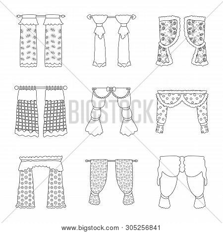 Vector Design Of Fabric And Decoration Symbol. Collection Of Fabric And Cornice Vector Icon For Stoc