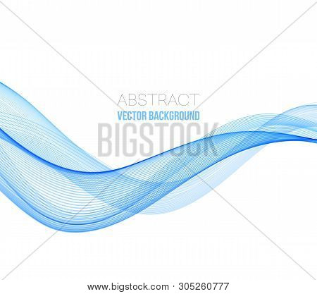 Abstract Curved Lines Background. Blue Transparent Wave.