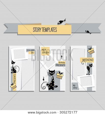 Cute Black Cats In A Modern Template For Funny Stories. Gentle Backgrounds With Cartoon Characters F