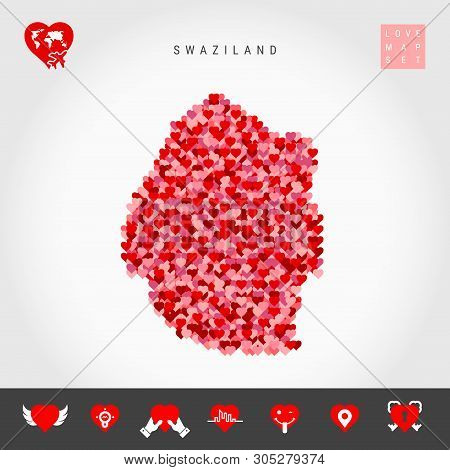 I Love Swaziland. Red And Pink Hearts Pattern Vector Map Of Eswatini Isolated On Grey Background. Lo