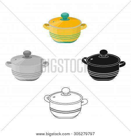 Stockpot Icon In Cartoon, Black Style Isolated On White Background. Kitchen Symbol Stock Vector Illu