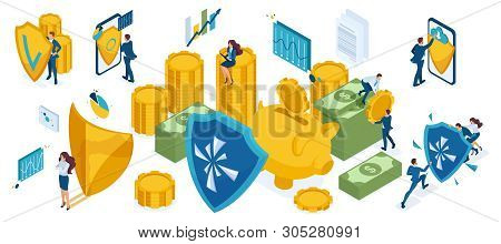 Isometric Icon Set For The Protection Of Money And Valuables, Investors, Bankers, Businessmen And Bu