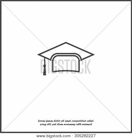 Graduation Cap Vector Icon. Hight School Symbol On White Isolated Background.  Layers Grouped For Ea