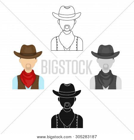Cowboy Icon In Cartoon, Black Style Isolated On White Background. Rodeo Symbol Stock Vector Illustra