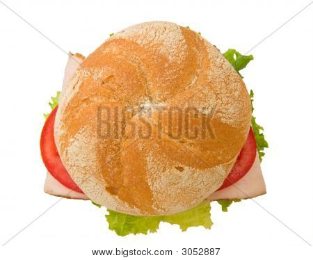 Top View Of A Crusty Turkey Kaiser Sandwich
