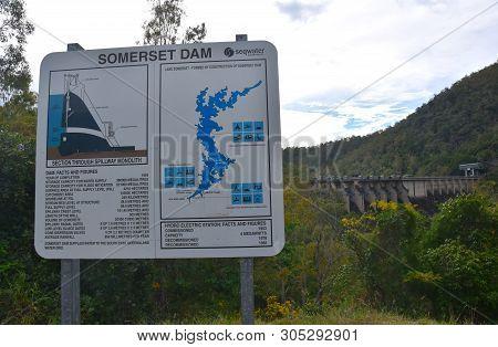 Somerset Dam, Australia - Apr 26, 2019. The Somerset Dam Is A Mass Concrete Gravity Dam With A Gated