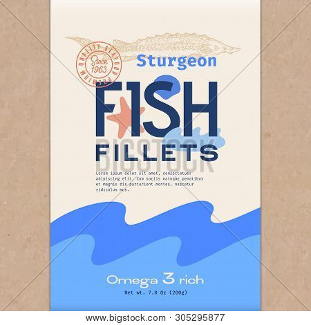 Fish Fillets. Abstract Vector Fish Packaging Design Or Label. Modern Typography, Hand Drawn Sturgeon