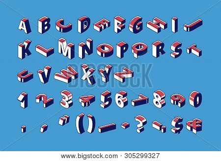 Isometric Alphabet, Numbers And Punctuation With Dotted Pattern Marks Standing And Lying In Raw On B