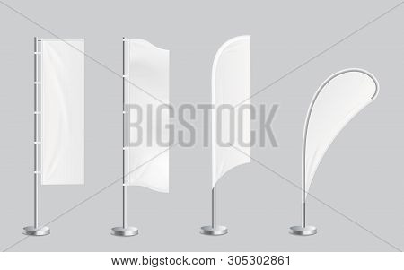 A Set Of Four Blank Promotional Feather Flag Stand Banners Mockup Vector.
