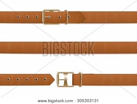 Buttoned, Open And Closed Brown Leather Belt With Metal Buckle.