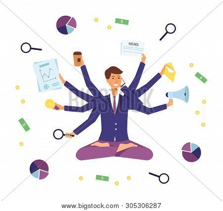 Young Business Man Multitasking On The Job, Busy But Happy Corporate Worker With Many Arms Juggling