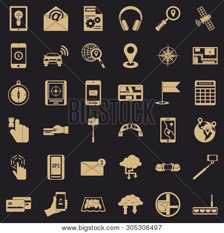 Mobile Widget Icons Set. Simple Set Of 36 Mobile Widget Vector Icons For Web For Any Design