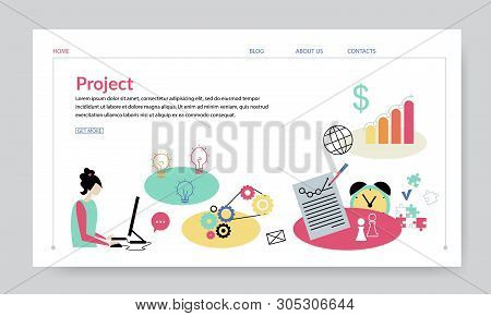 Project Concept, Creative Website Template, Modern Flat Design Vector Illustration