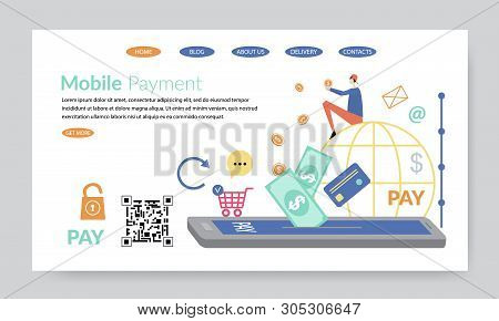 Mobile Payment, Creative Website Template, Flat Design Vector Illustration