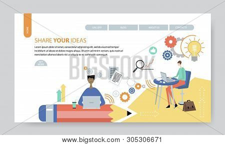 Share Your Ideas, Creative Website Template, Flat Design Vector Illustration