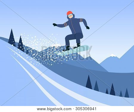 Cartoon Man Riding A Snowboard, Snowboarder Doing A High Jump Mid Air On A Snow Slope