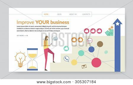 Improve Your Business Concept, Creative Website Template, Modern Flat Design Vector Illustration