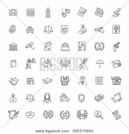 Legal, Law And Justice Vector Icon Set