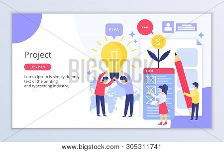 Creative Website Template Of Project Concept, Modern Flat Design Vector Illustration, For Graphic An